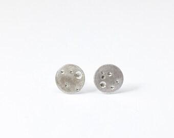 Brushed Silver Moon Earrings, Small Silver Stud Earrings