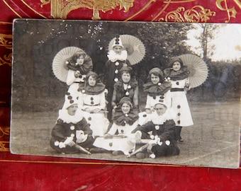 Unique Antique Real Photo Poscard. RPPC. Actors. Acting Troupe. Clown. Harlequin. 1920s.