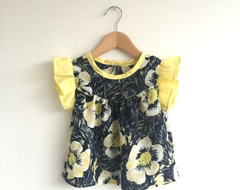 girls navy floral microfibre blouse