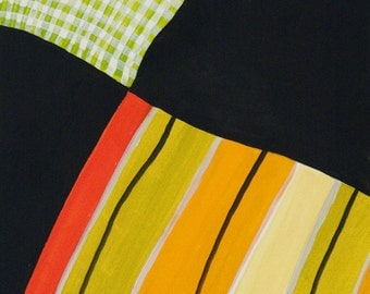 Plaid Meets Stripes 1 Original Abstract Pattern Acrylic on Paper Framed