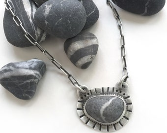 Lake Erie Beach Stone Grey Wishing Stone Bezel Set Necklace Sterling Silver 18 Inch Oblong Cable Chain - You Wish!