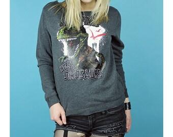DINOSAUR Sweatshirt - Dinosaur Shirt - Upcycled Dinosaur sweatshirt - small gray dinosaur top - Diy sweatshirt