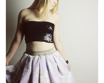 Handmade Purple UNICORN Skirt - Vintage Unicorn skirt - High waisted skirt - Handmade Lavender Unicorn Skirt - 80s unicorn skirt