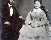 vintage photo 1890s Man and Woman Sit in Chairs Lovely Tintype