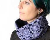Womens lace cowl, Purple cowl scarf, Upcycled crochet lace cowl, Womens cowl, Crochet scarf, Gift for women, Womens accessories, MALAM