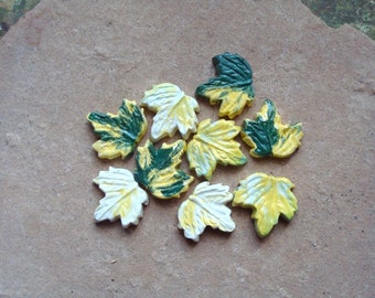 White Yellow and Green Leaf Maple Sycamore Leaves Ceramic Clay Pottery Tiles for Mosaics, Assemblage or Crafts