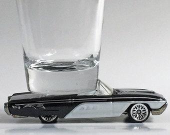 The ORIGINAL Hot Shot, Classic Hot Rods, Shot Glass, '63 T-Bird, Black & White, Hot Wheel