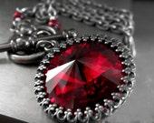 Blood Red Crystal Necklace, Gothic Valentine Red Swarovski Rivoli Crystal Choker Necklace, Charcoal Grey Gray Chain, Gunmetal Black
