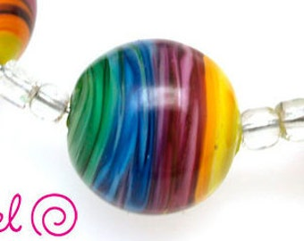 Pearly Lampwork 6 15 mm round beads with colorful vortex Lampwork beads SRA made to order