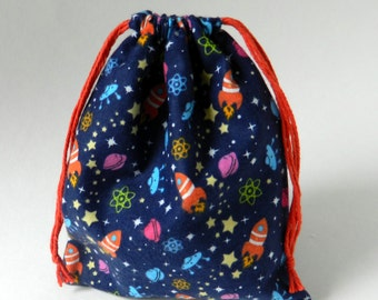 Out in Space Drawstring Bag, Party favors bag, Planets, Rocket ship, Children Space theme party favor bags,  children storage drawstring bag