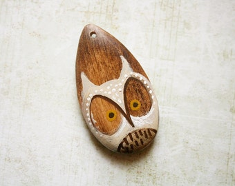 White Owl Wood Pendant with Hand Painted Bird