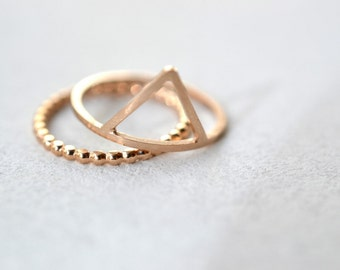 Rose gold My Mountain my trail silver- gold plated sterling silver stacking rings, geometric triangle ring