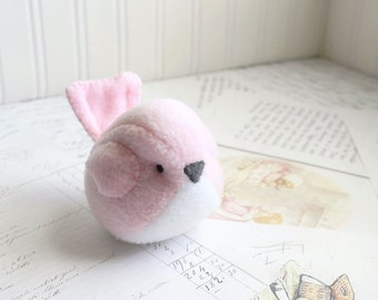 Kids Light Pink Bird Stuffed Animal Childrens Handmade Plush Toy