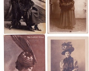 4 Vintage Photos of Ladies in their Hats - over 100 years old