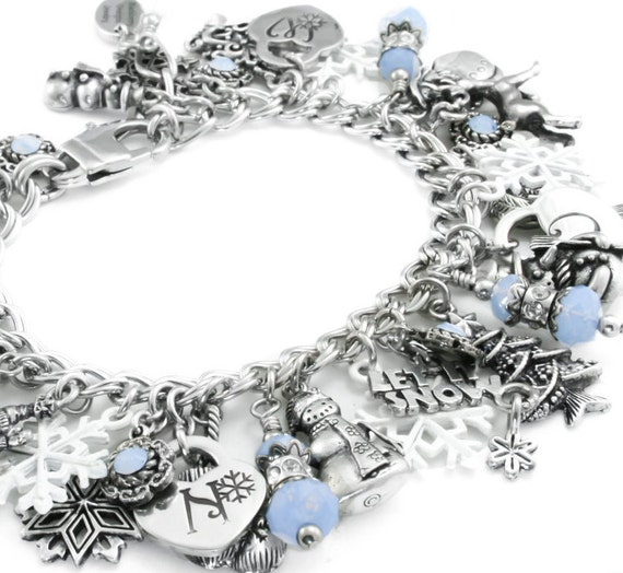 Snowflake Charm Bracelet: Silver Winter Jewelry Snowflake Jewelry Snow By