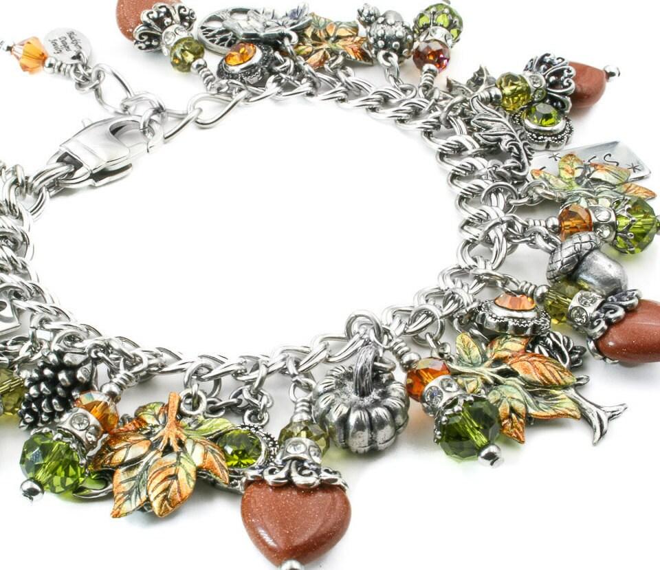 Leaf Charm Bracelet Autumn Jewelry Fall Bracelet Fall