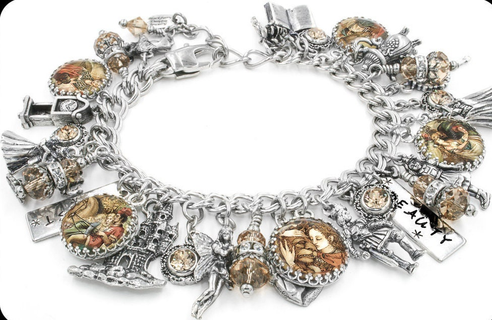 jewelry, charm bracelet, beauty and the beast, fairy tales