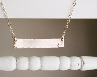 Custom Hand Stamped Initial BAR Necklace gold-fill