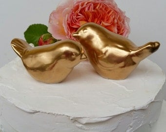 Gold Wedding Cake Topper Elegant Gold Leaf Love Birds Vintage Design Ceramic Wedding Cake Topper Bird Home Decor