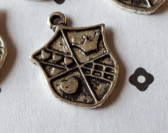Antiqued Silver Shield Charms (4)