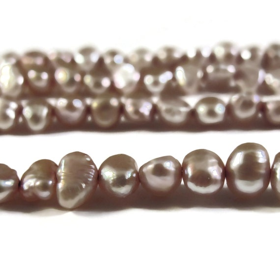 Champagne Freshwater Pearls, Delicate Mauve Pink Nugget Pearls, 3.5-4mm, 15 Inch Strand, Long Drilled, Over 46 Loose Pearls (P-N1)