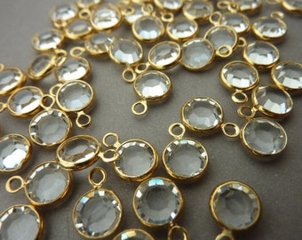Swarovski Channel Round Rhinestone Charms Gold Plated - 6 mm Crystal (12)