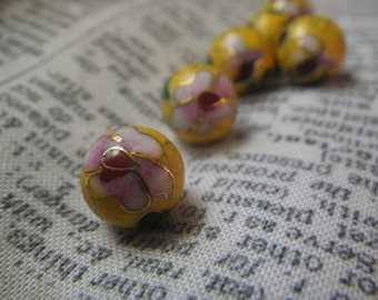 Vintage Cloisonne Beads Bright Yellow Pink and Green 10mm Round 6 Pcs