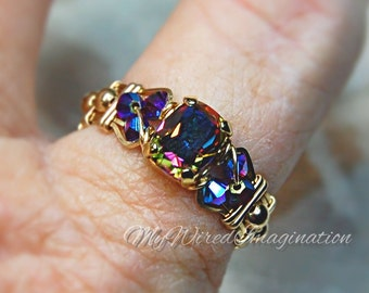 Vitrail Dark Vintage Swarovski Crystal Hand Crafted Wire Wrap Ring in 14k GF or Sterling Fine Jewelry Signature Design Unique Engagement