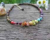 Rainbow Crystal Gemstone Anklet -  Chakra - Multi Earthy Bohemian Accessories - Boho Gift for Her Brass  Wood - Gypsy - Free Spirit Bohemian