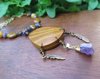 Unique Wood & Stone Dreamcatcher Inspired Necklace - Long Brass Chain Raw Amethyst Crystal - Statement Pendant Gypsy Jewelry - Yellow Purple
