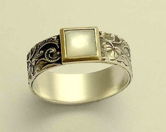 Silver gold ring, filigree ring, shell ring, mixed metals band, two tone band, botanical ring, leaves ring, silver band - White spirit R1631