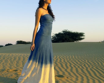 ORGANIC Women's INDIGO Dip-Dyed Love Me 2 Times Long Wanderer Dress ( LIGHT hemp/organic cotton knit )