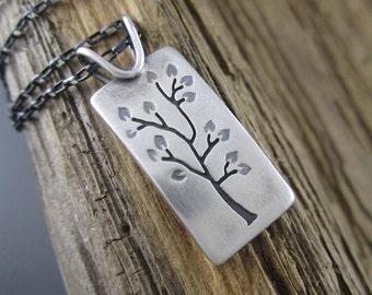 Handmade Summer Tree Portrait Sterling Silver Pendant