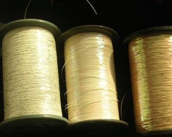 Washi Synthetic Thread  -  Vintage Japanese Thread - Embellishment - Embroider - Sew - Flat - White Iridescent - 1000M Spool