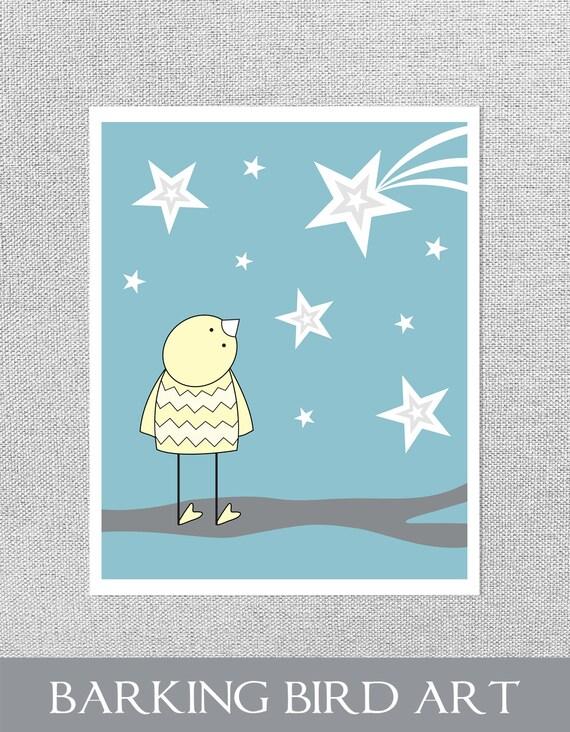 Art for Nursery, Nursery Print, Star Nursery Decor, Baby Boy Art, Blue Nursery Decor, Nursery Art, Bird Nursery Art, Baby Wall Art