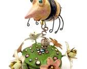 Sculpey figurine nicnac polymer clay / Bumble Bee fantasy sculpture
