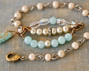 Gemstone and pearl beaded bracelet,boho wedding crystal layering bracelet. tiedupmemories