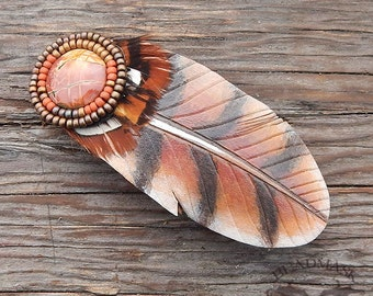 Leather Barrette - Red Hawk Feather with Beaded Jasper Cabochon