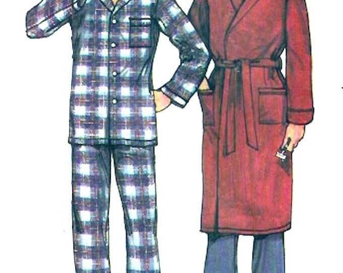 Vintage mens robe pajamas Fathers Dads Husbands sewing pattern Butterick 6367 UNCUT size medium