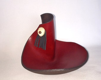 Red sculpted leather bowl with antler accent No. 2638