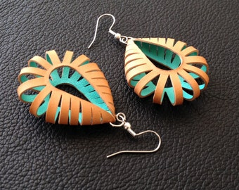 natural leather earrings with turquoise color