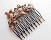 Ivy Leaves Hair Comb -- Copper Ivy Vine, Green Swarovski Crystals, Black Comb, Wire wrapped copper wire, Woodland Hair Accessory