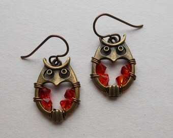 Brass Owl Earrings -- Red-Orange Swarovski Crystal Wire Wrapped Beads, Antique Brass Round Owls, Niobium Ear Wires, Round Owl Earrings
