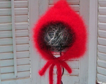 SALE 3-9M Red Angora Baby Bonnet READY to SHIP Christmas Hat  Red Riding Hood Pixie Hat Valentines Baby Hat