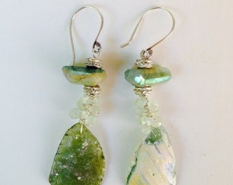 Ancient Roman Glass Earrings Aquamarine and Prehnite