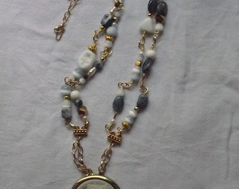 Lady Talli & the Fairy - beaded link necklace with cameo pendant