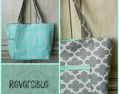 Large Tote Reversible Arrow Gray Mint Green
