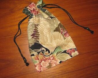 Japanese Cranes & Flowers Design Tiny Tote Pouch Purse Organizer
