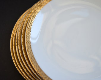 Art Deco Gold  Entree Plates -EPIAG Porcelain MADE in CZECHOSLOVAKIA Set pf 6 Fine Bone China Large Dinner Plates 1920's