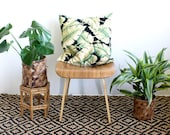 "Barkcloth Tropical Palm Tree Print, 20 inch Square Pillow Cover, Banana Leaf Pillow, 20"" x 20"", Mid Century Modern, Boho Hollywood Regency"